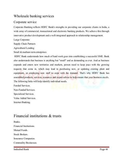 Mba Project Report On Merchant Banking by Mba Project Report On Hdfc Bank