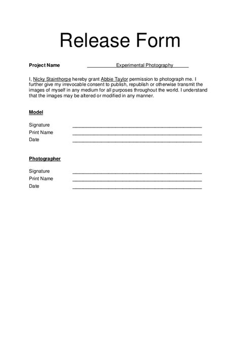 photographer copyright release form template model release form