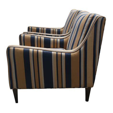 Striped Armchairs by 2 Milo Baughman Style Striped Lounge Armchairs Price Reduced