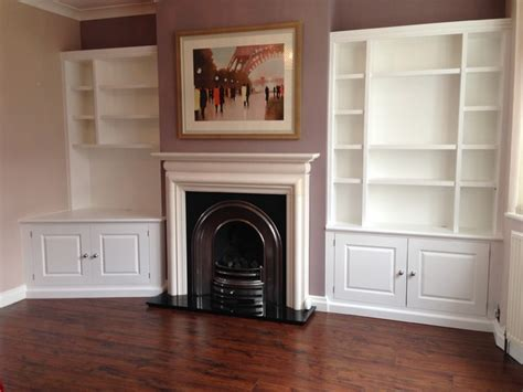 Living Room Shelf Unit White Painted Alcove Shelving Units With Lighting Modern