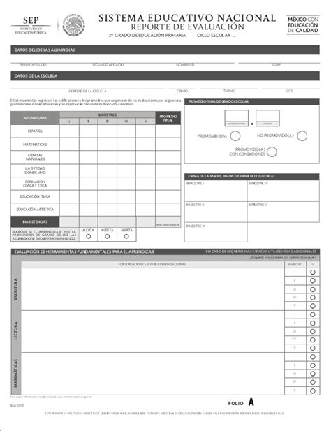 boletas de calificaciones 2015 2016 cuarto grado primaria 3 reporte de evaluaci 243 n sep