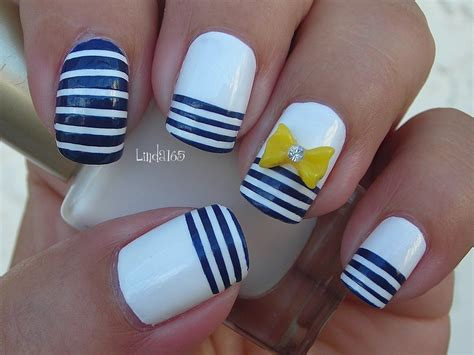 Imagenes De Uñas Decoradas Con Rayas | nail art nautical stripes decoraci 243 n de u 241 as l 237 neas