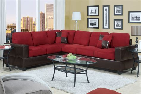 red sectional black and red sectional sofa red fabric black vinyl modern