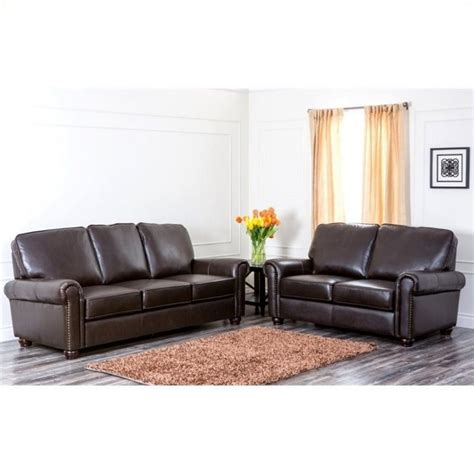 sofa stores in london abbyson living london 2 piece leather sofa set in dark
