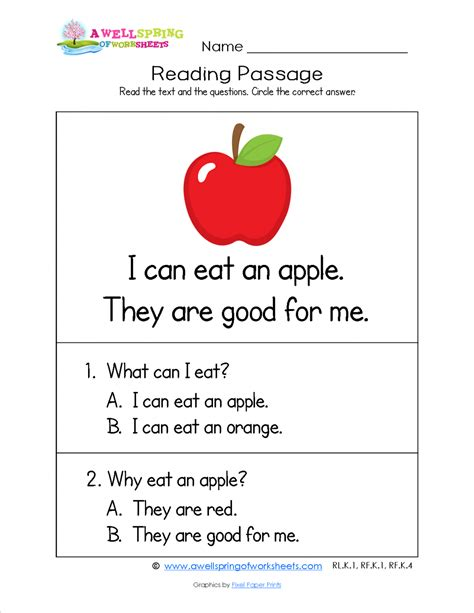 Kindergarten Reading Comprehension Worksheets by Free Printable Reading Comprehension Worksheets For
