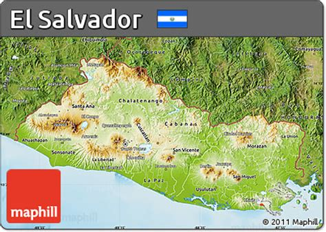 el salvador satellite map free physical map of el salvador satellite outside