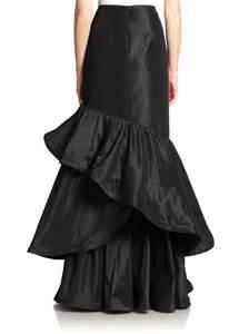 teri jon long ruffle taffeta skirt in black no color lyst