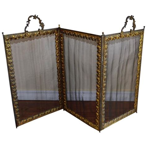 folding bronze and mesh fireplace screen for sale