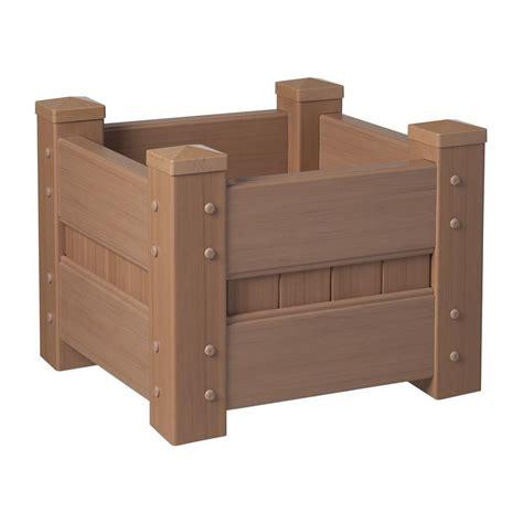 planter box home depot veranda 24 in square redwood vinyl planter box 90503hd