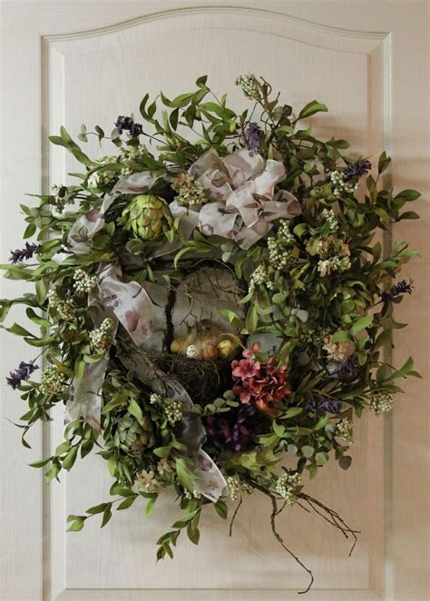 spring wreath elegant easter spring door wreath with grapevine basket