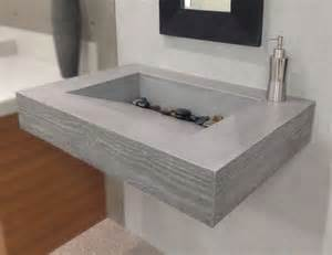 concrete bathroom sinks handmade floating sink with wood grain edge by trueform