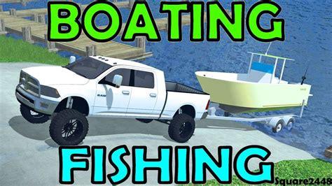 farming simulator boat videos farming simulator 15 boating fishing youtube