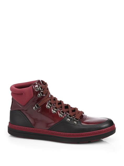 gucci high top sneakers for gucci contrast combo high top sneakers in black for lyst