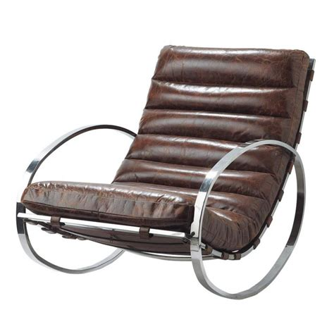 leather rocking chair in brown freud maisons du monde