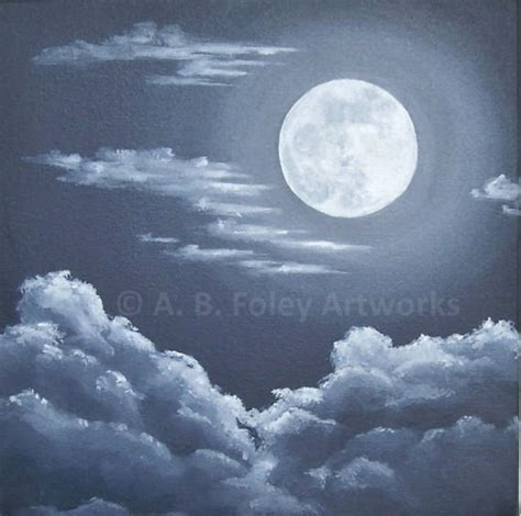 acrylic paint sky sky painting original acrylic painting of moon and