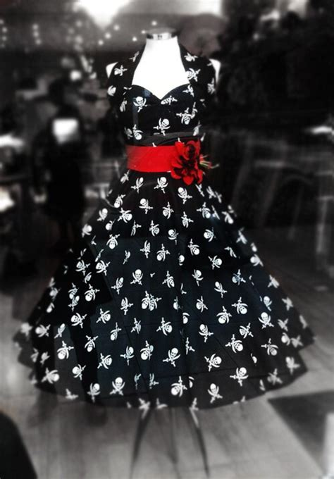 dress black  white halter dress skull  cross bones print red  style pirate