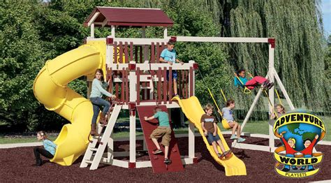 biggest swing set in the world adventure world vinyl playsets playsets wayside lawn