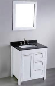 30 quot white bathroom vanity with black granite top and