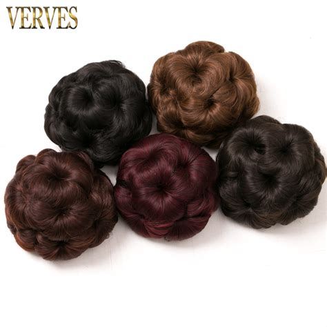synthetic hair updo styles women curly chignon clip in elastic fake hair bun updo