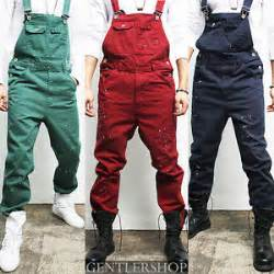 mens vintage style painted suspender color overalls