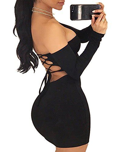 tob s shoulder backless lace up club bodycon mini dress