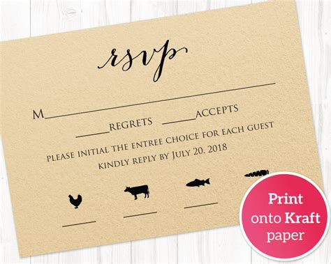 Dinner Response Card Template by Rsvp Card With Meal Icons Templates 183 Wedding Templates