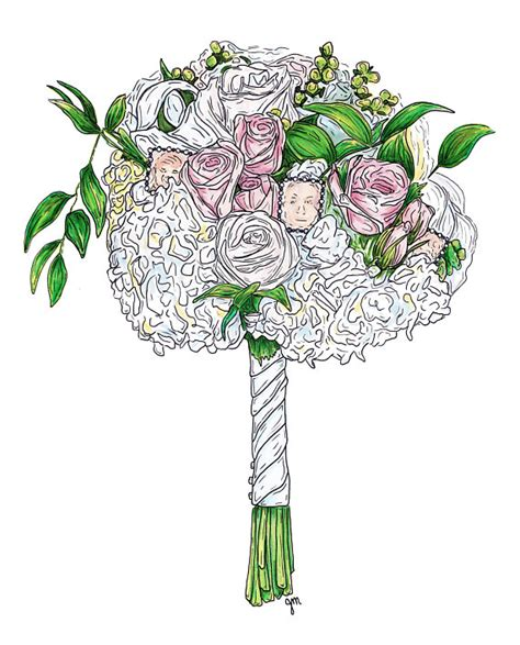 Wedding Bouquet Illustration by Custom Wedding Bouquet Flowers Drawing Illustration Print