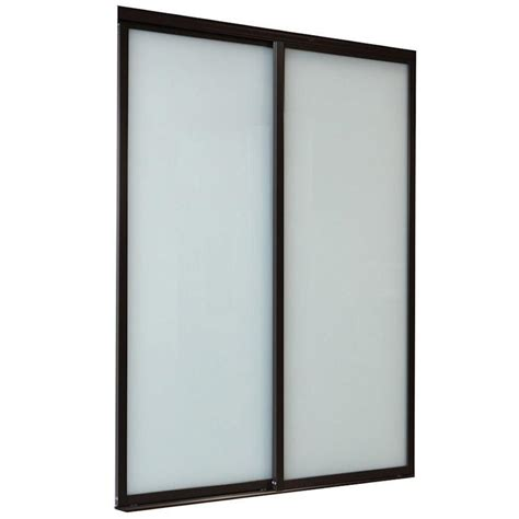 Shop Reliabilt White Full Lite Laminated Glass Sliding Sliding Glass Closet Doors Lowes