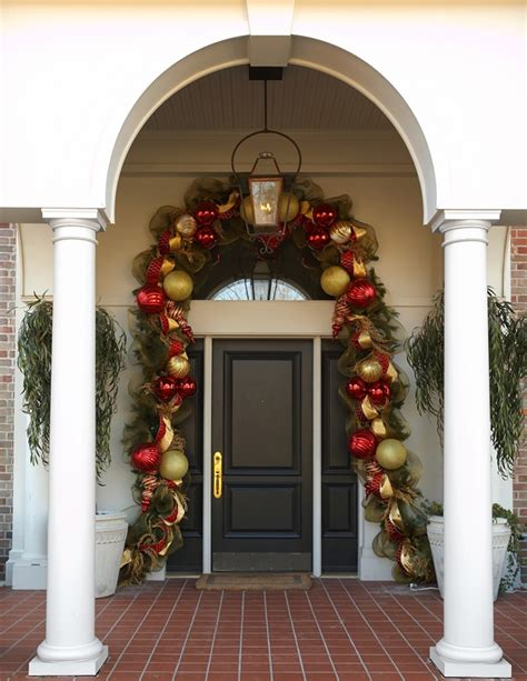 Door Garland With Evergreens Deco Mesh And Oversized Front Door Garland