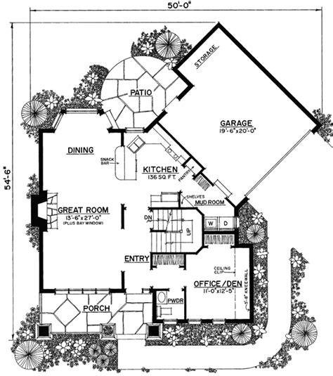 unique small home floor plans plan 43040pf unique floor plan hides garage bedrooms feng shui and house