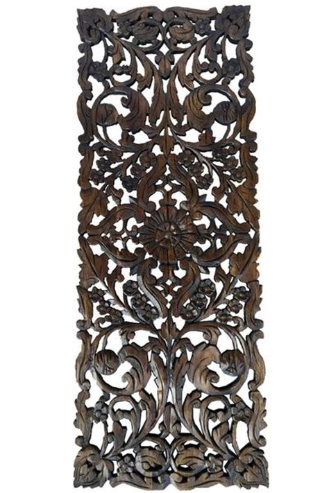asian home decorfloral wood carved wall panelwall art