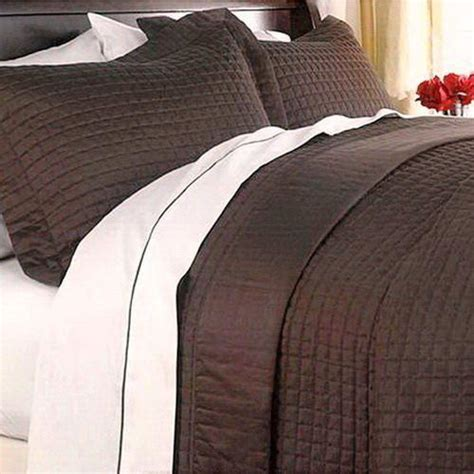brown quilted coverlet modern hotel solid brown reversible quilt coverlet set