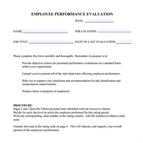 free employee evaluation forms templates 41 sle employee evaluation forms to sle