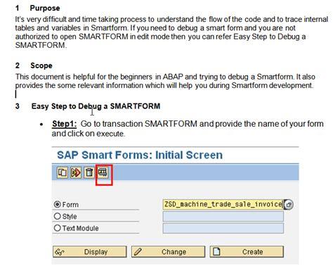 sap debugging tutorial pdf easy step to debug a smartform abap development scn wiki