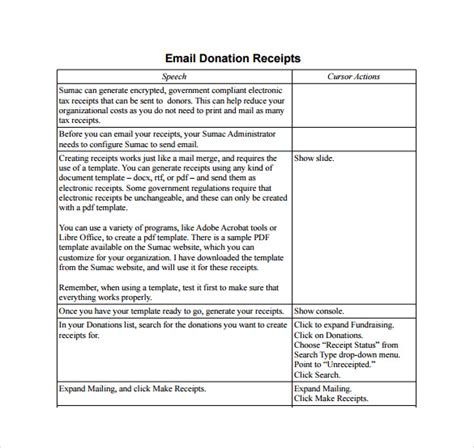 email receipt template 16 donation receipt template sles templates assistant