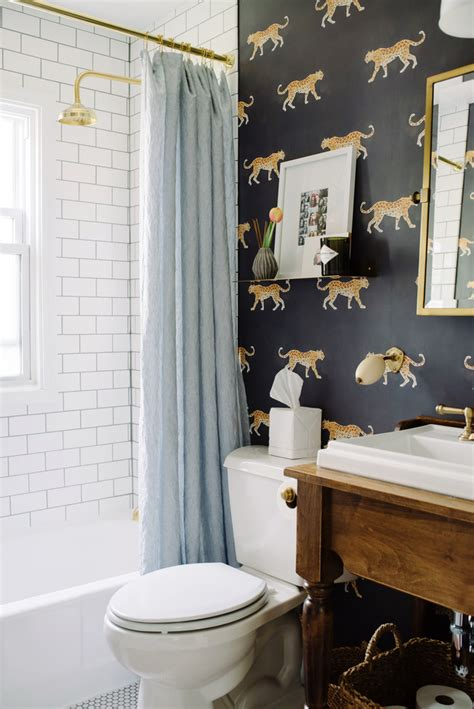 funky wallpaper for bathrooms inside a minimalist bungalow with scandinavian home decor