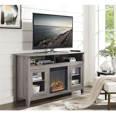 wood highboy fireplace tv stand driftwood