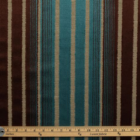 teal and brown upholstery fabric electric teal blue antique brown floral stripe fade damask