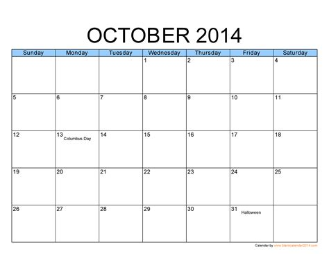 calendar 2014 template printable october 2014 calendar printable template http www