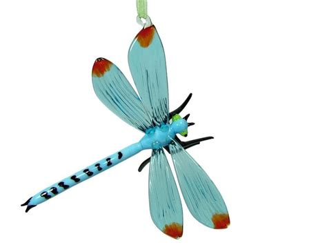 new glass blue dragonfly bug insect wing christmas tree