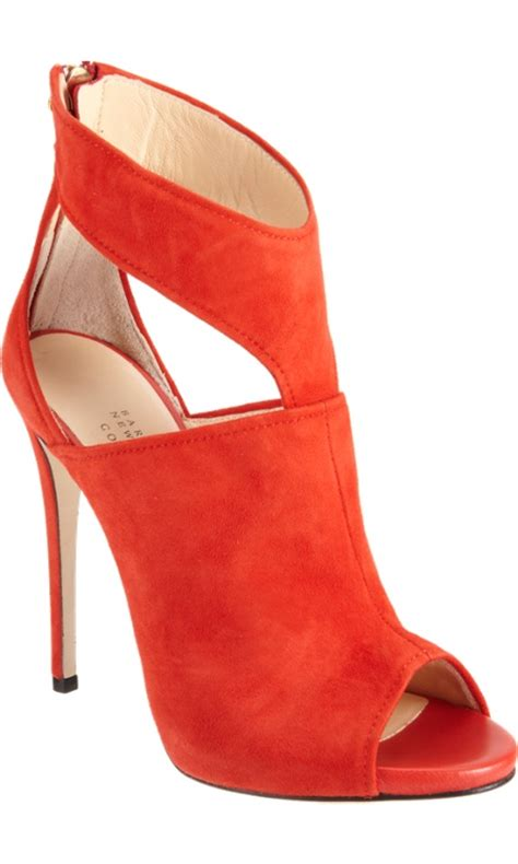 fashion world orange high heel shoes