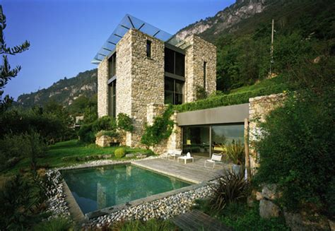 a modern italian stone house ap house by gga architects italian stone house with rustic appeal on lake como by