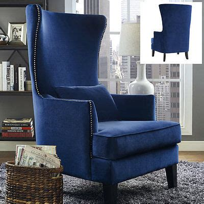 wingback accent chair tall high back living room tufted upholstered wingback chair velvet blue armchair accent
