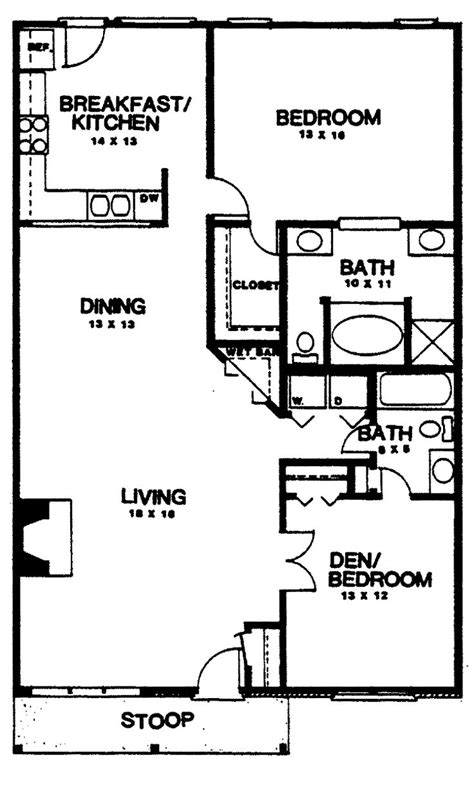 2 Bedroom 2 Bath Floor Plans Two Bedroom House Plans Home Plans Homepw03155 1 350