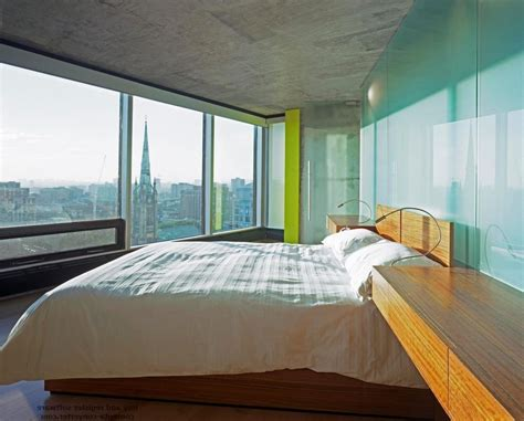 bedroom with glass walls toronto modern bedside tables bedroom with panorama window