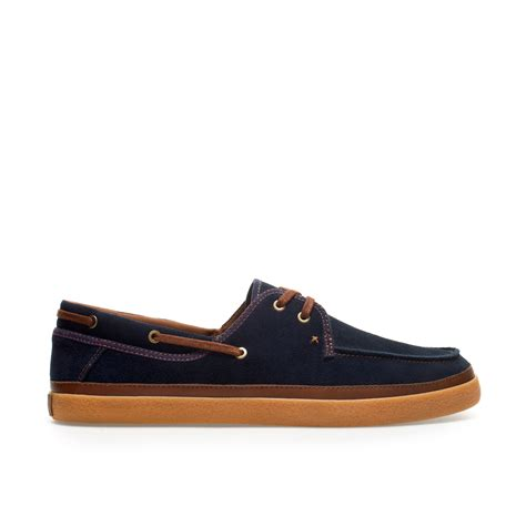 zara shoes zara sport deck shoe in blue for navy blue lyst