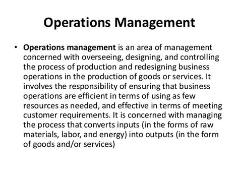 Operation And Supply Management operations and supply chain management