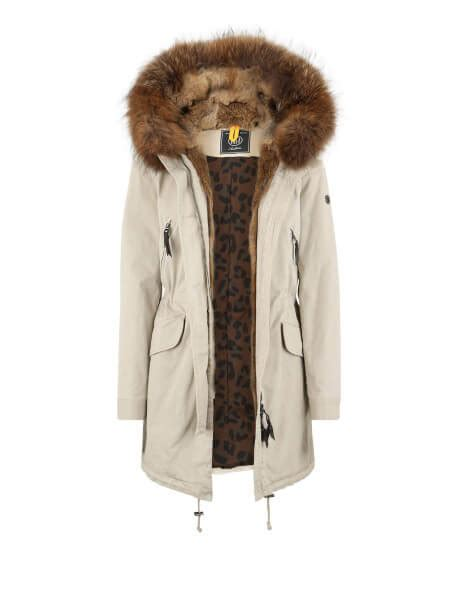 aspen  echtfell parka feather beige parka damen