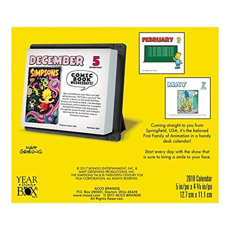 2018 the simpsons calendar year in a box 2018 the simpsons calendar year in a box calendars store