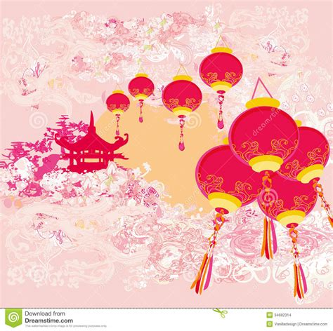 traditional new year new year card traditional lanterns and asian